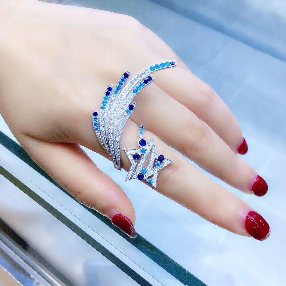 Qi Xuan_New anneau étoile S925 en argent Sterling incrusté Zircon ouvert anneau en direct personnalité female_fabricant directement ventes