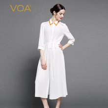 VOA Yellow Trim Sleeve Long White Silk Shirt Women Streetwear Loose Turn-Down Collar Elastic Waist Drawstring Tops B7061