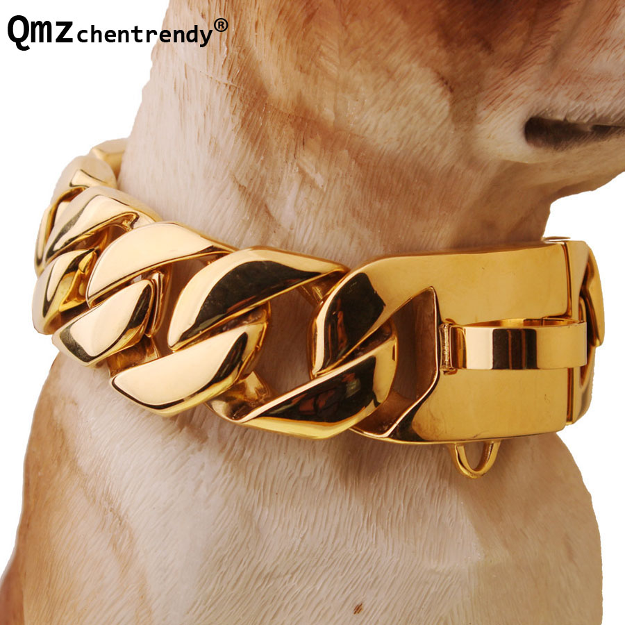 Exaggerated Extra coarse 316L Stainless Steel Golden Cuban Large Pet Dog Chain Necklace Pitbull Collars Choker Top quality