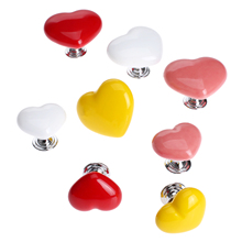1Pc Cute Heart Shape Kitchen Furniture Handles and Knobs Ceramic Door Knob Cabinet Cupboard Drawer Pull Knobs Furniture Fittings 8pcs furniture handles ceramic cabinet knobs and handles door cupboard drawer kitchen pull handles furniture fittings white rose