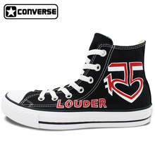 R5 Louder Design Converse All Star Hand Painted Shoes Man Woman Black High Top Canvas Sneakers Unique Skateboarding Shoes