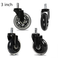 5Pcs 3Inch PU Furniture Casters 360 Degree Swivel Mute For Office Computer Chair Adjustable Rolling Double