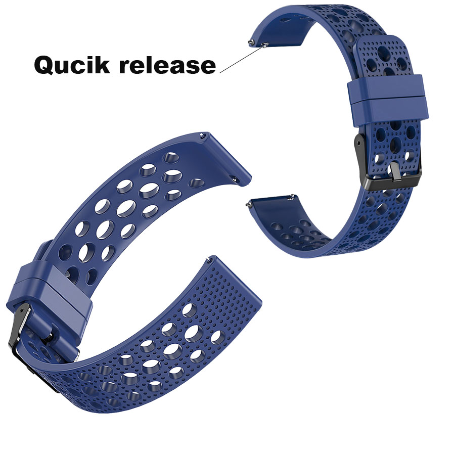 22mm Silicone Bracelet Strap For Xiaomi Amazfit GTR 47mm Pace Stratos Watch Band For Samsung Gear S3 Galaxy 46mm Pulsera Correa