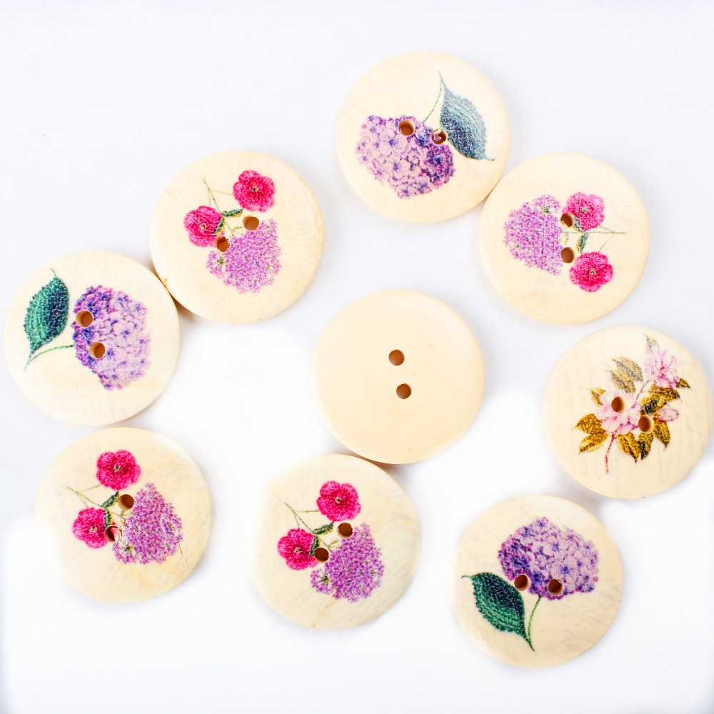 ₩50 unids Botones flor impreso ronda 2 agujeros madera Costura ...