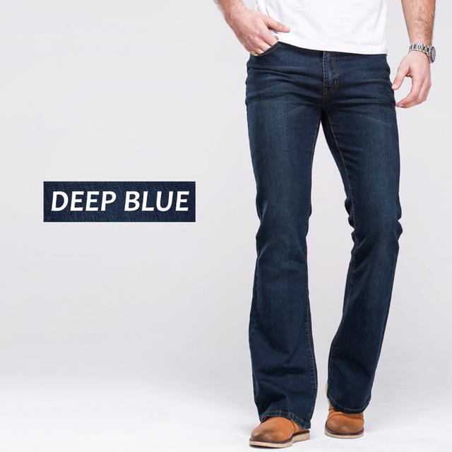 Mens jeans boot cut leg slightly flared slim fit black mid waist male casual jeans designer classic stretch denim pants