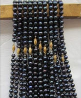 wholesale 10 PCS south sea AAA 8 9MM Black natural pearl necklace 18 1 4 k
