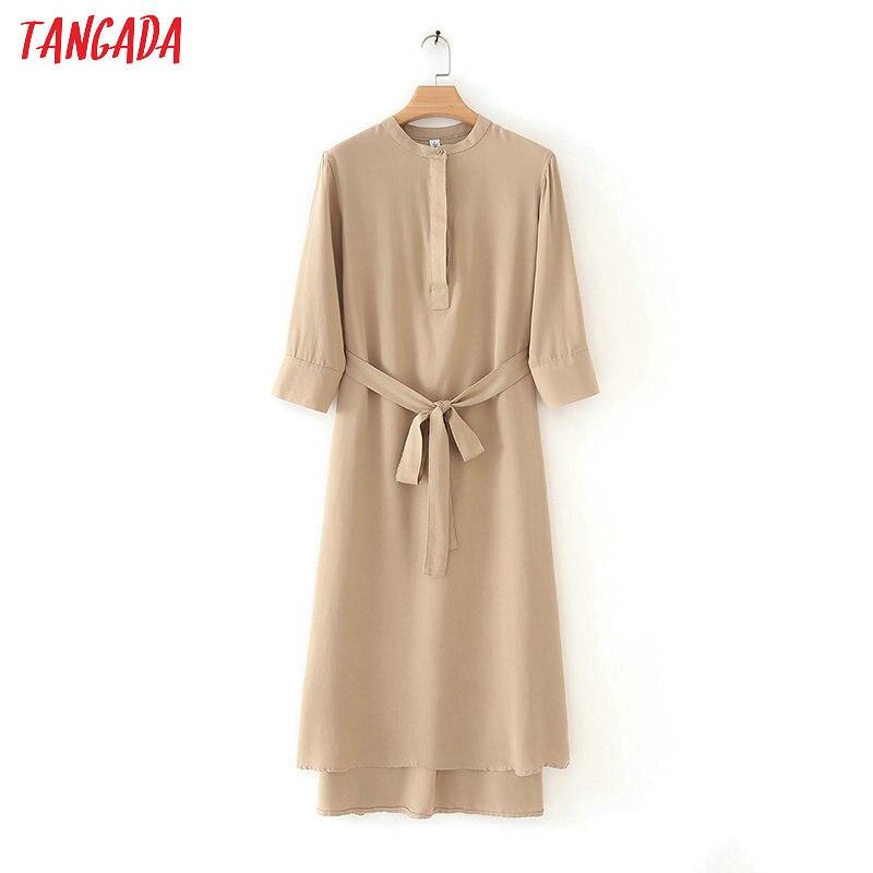 Tangada Women Elegant Khaki Shirt Dress Long Sleeve Slash 2019 Vintage Office Ladies Midi Dress Vestidos 4T02