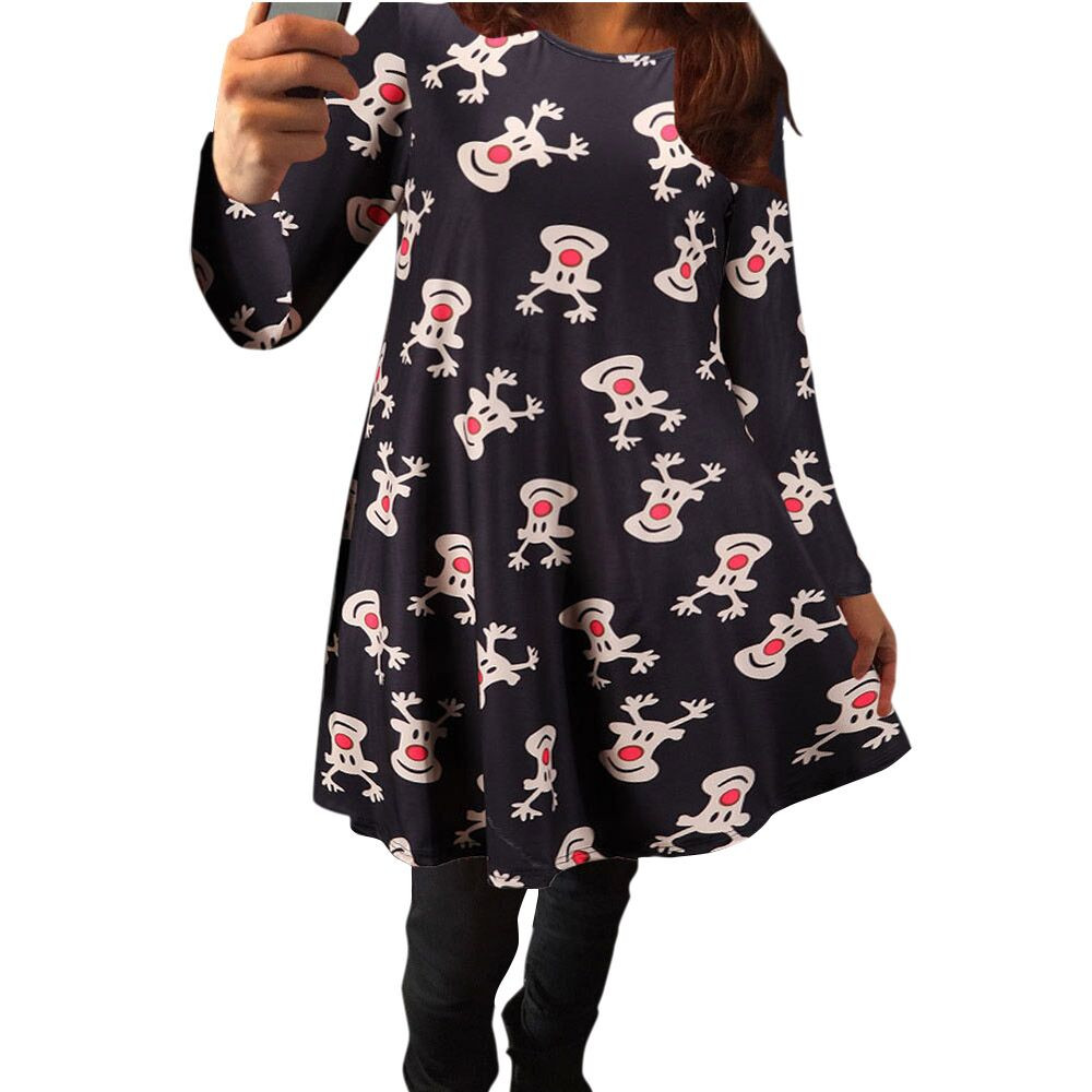 Christmas dress casual - 2017 New Designer Hot Sale Women O Neck Fashion Mini Dress Xmas Christmas Elk Long