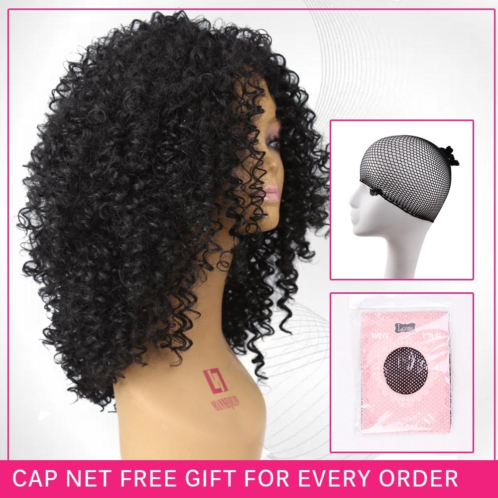 Amir Medium Long Afro Kinky Curly Syntetisk peruk för svarta kvinnor - Syntetiskt hår - Foto 4