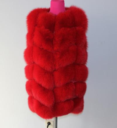 Linhaoshengyue 73 см длинные Высокое качество меха лисы Жилет натуральным лисьим мехом женские жилет - Цвет: red