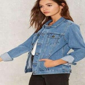 Image 4 - נשים בסיסי מעילי סתיו ג ינס מעיל בציר רקמה ארוך שרוול רופף בתוספת גודל 5XL ג ינס מעיל החורף מקרית בנות להאריך ימים יותר