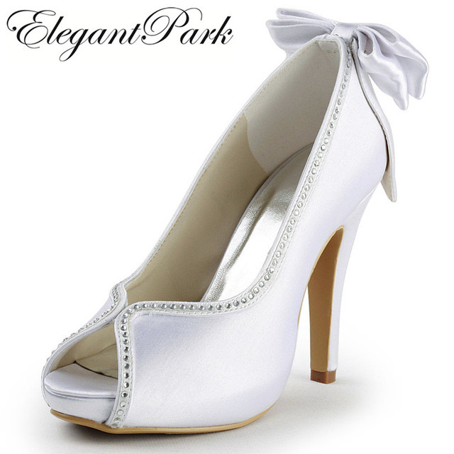 25f86265228 US $52.95 |Woman wedding bridal shoes high heels Ivory White peep toe  platform bows rhinestones satin lady bridesmaids prom pumps EP2048 IP-in  Women's ...