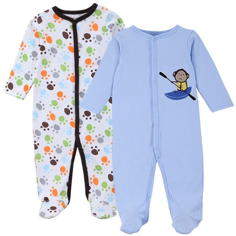 2018 moeder nest nieuw merk baby rompertjes lange mouwen 2 stuks zacht katoen pasgeboren babykleding mode baby pyjama babykleding