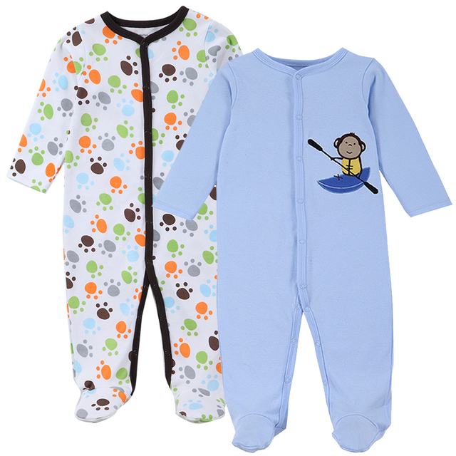 Set of 2 Romper Pajamas for Babies and Infants