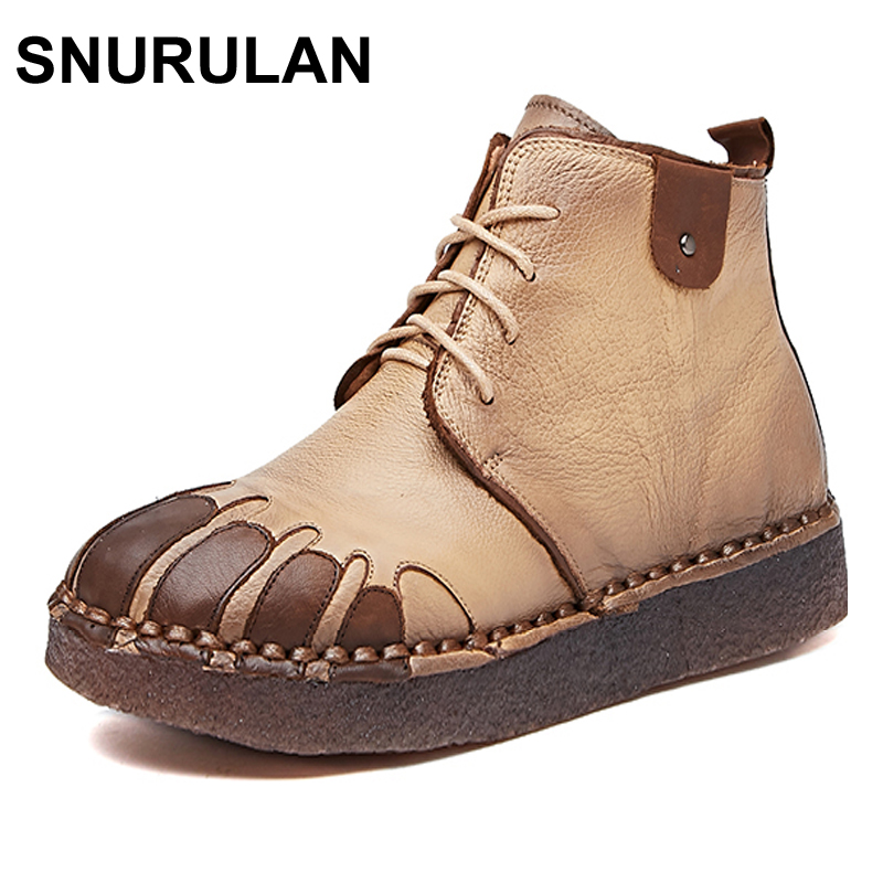 SNURULAN Genuine Leather Women Boots 2017 New Spring Autumn Fashion Ankle Boots Comfortable Soft Outdoor Casual Flat Shoes front lace up casual ankle boots autumn vintage brown new booties flat genuine leather suede shoes round toe fall female fashion