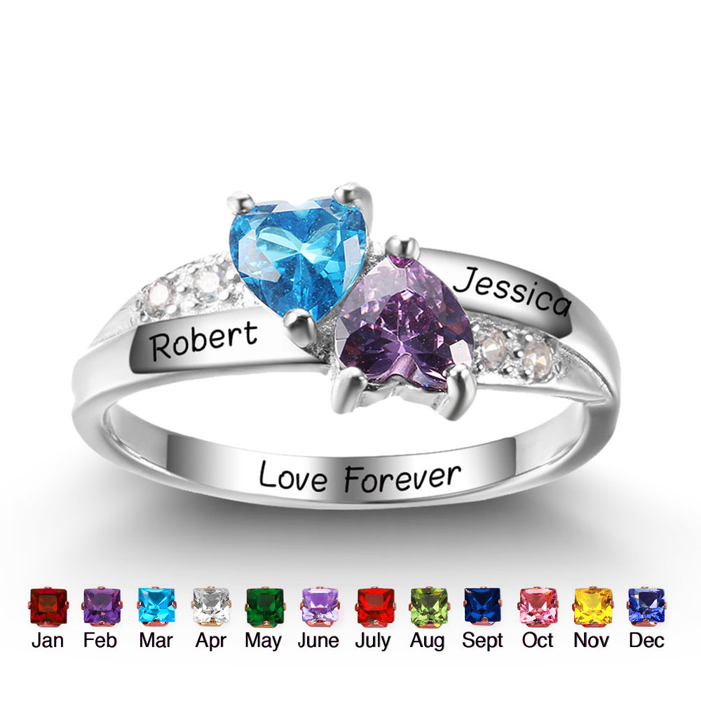 Personalized Customized Birthstone Heart Rings 925 ...