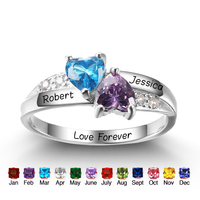 Personalized Customized Birthstone Heart Rings 925 Sterling Silver Promise Rings For Her DIY Any Names Ring Free Engraved