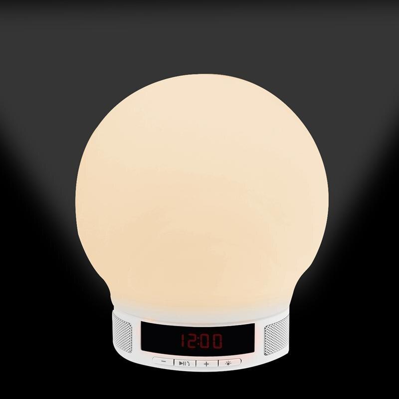 4 режима светодиодный ночник Беспроводной Bluetooth Hands-free Динамик аудио плеер с время для мобильного телефона (белый)