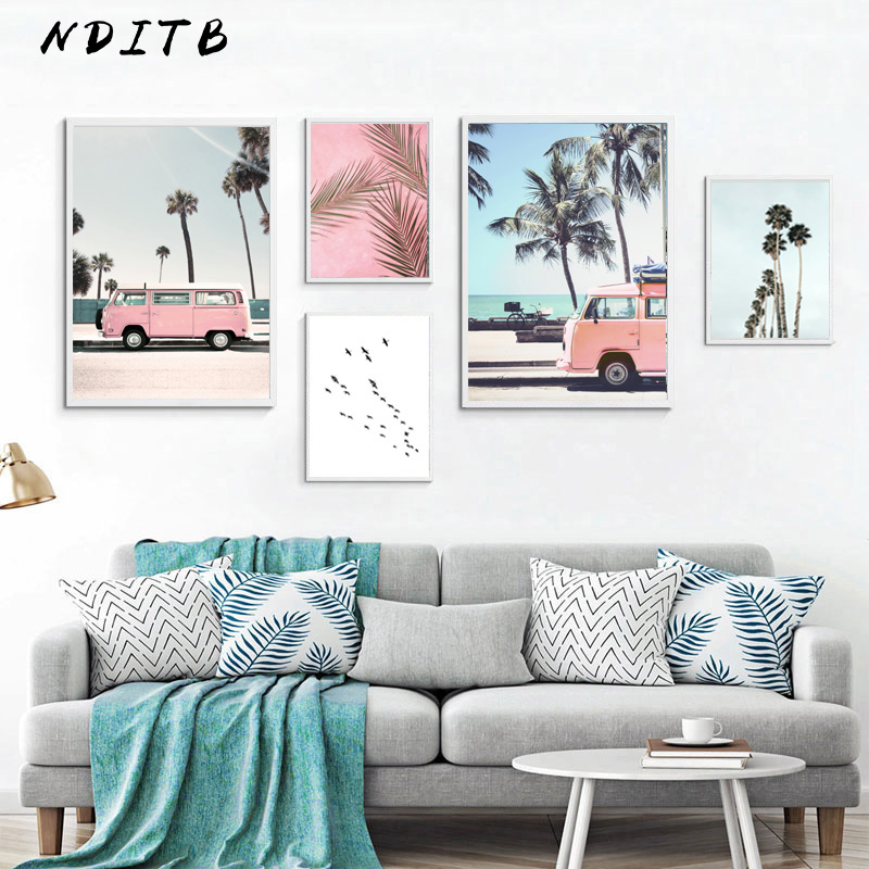 Tropical Ocean Beach Palm Tree Canvas Poster Landscape Wall Art Print Painting Nordic Decoration Picture Scandinavian Home Decor(China)