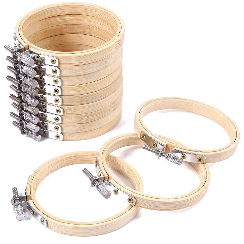 10pcs/set 8/10cm Embroidery Hoops Frame Set Bamboo Wooden Embroidery Hoop Rings for DIY Cross Stitch Needle Craft Tool