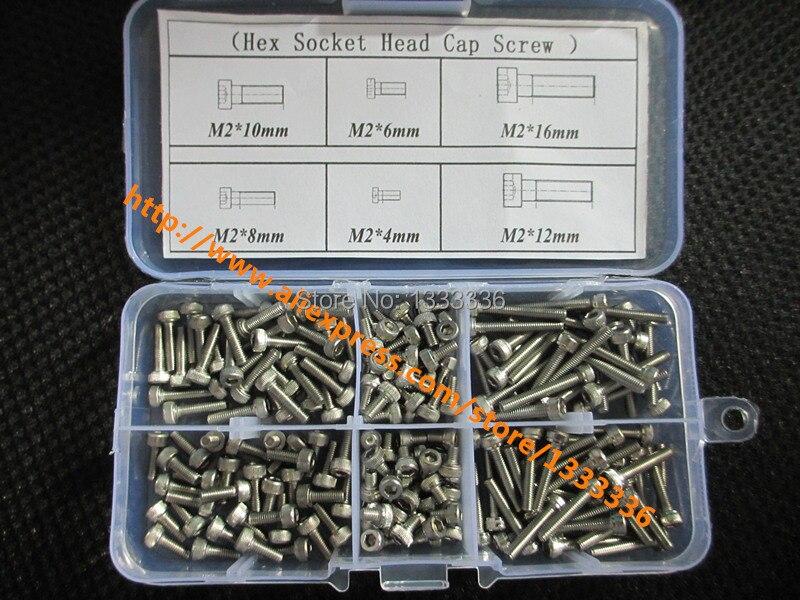 180pcs  M2 Cap Screw Hex Socket Head Cap Screw Accessories Kits