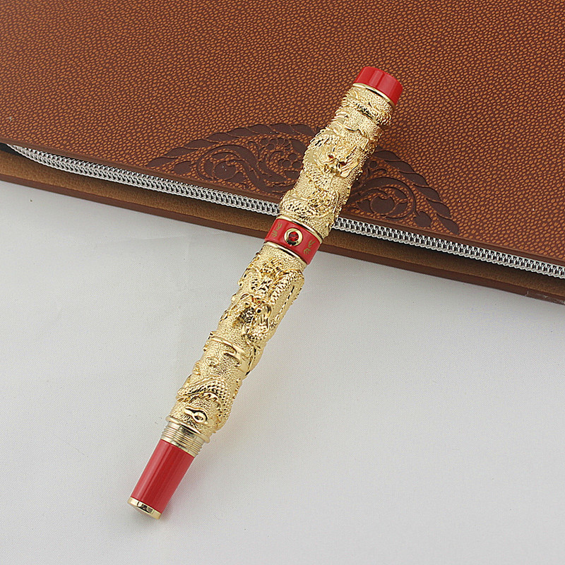 Jinhao Luxury Two Dragon Play Pearl Fountain Pen with Original Box for Gift Free Shipping