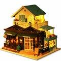Casa de Boneca Diy casa Grande Casa De Bonecas modelo de Construção montadas vivenda de luxo presente de aniversário Brinquedos para childred-Escultura tempo caf