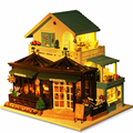Diy Кукольный Дом Большая вилла Кукольный Домик модель Здания собраны вилла класса люкс подарок на день рождения Игрушки для childred-Резьба время кафе