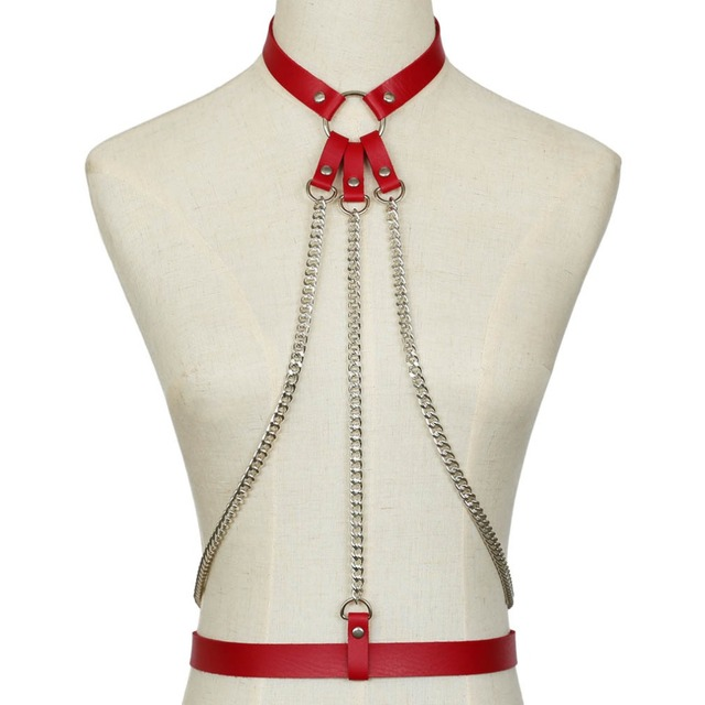 KMVEXO 2019 New Leather Harness Belt Bondage Cage Gothic Chain Body Necklace Women Punk Fashion Cosplay Festival Torques Jewelry