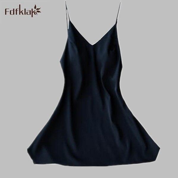 Sexy Women Nightgowns Sleepshirts 2019 Women Summer Dress Nightdress Faux Silk Sleepwear Lounge Nightshirts 4 Colors A542