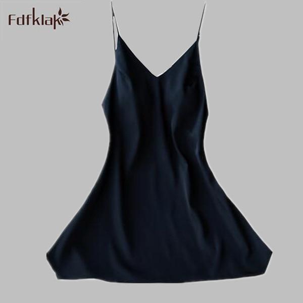 Sexy Women   Nightgowns     Sleepshirts   2017 Women Summer Dress Nightdress Faux Silk Sleepwear Lounge Nightshirts 4 Colors A542