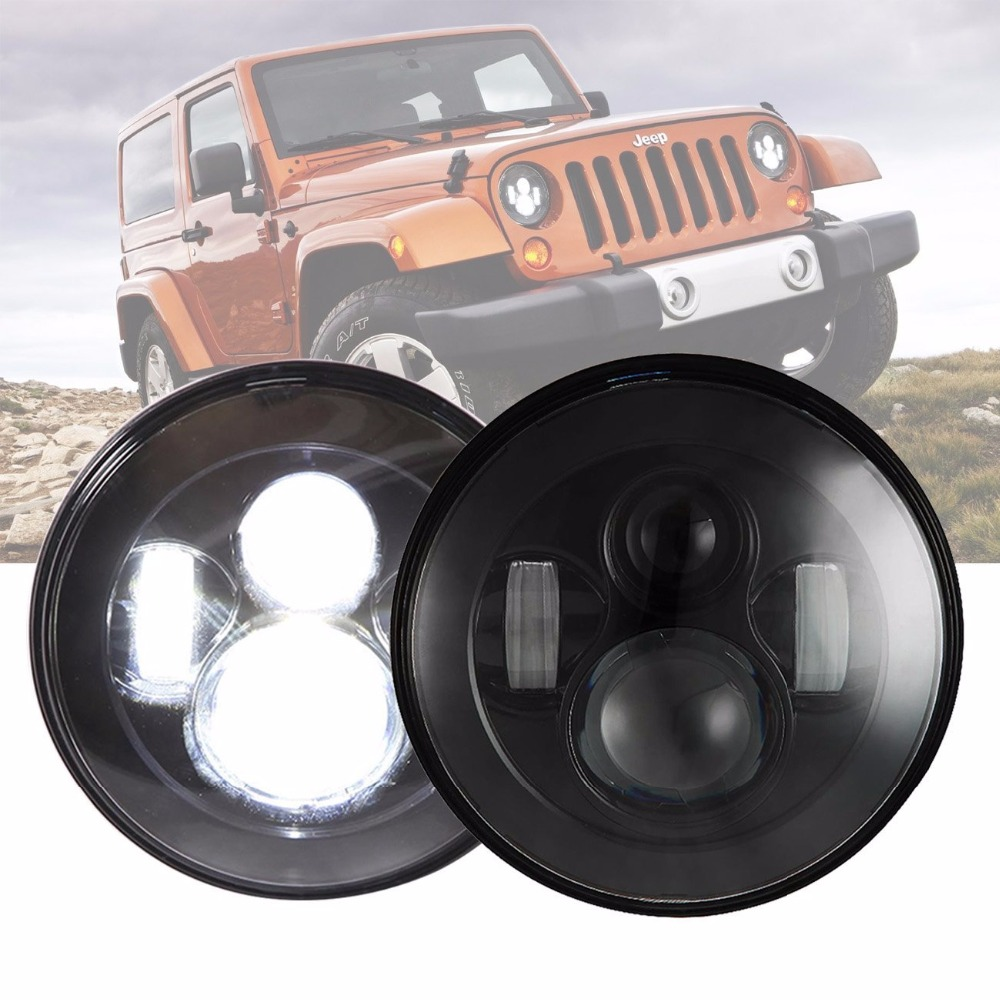pair Lantsun J024 7inch Daymaker LED Headlight Hi/Low Beam for 1997-2017 Jeep Wrangler TJ JK & Wrangler Unlimited pair lantsun j269 locking hood hold down for jeep wrangler jk jku unlimited rubicon sahara x sport 1997 2017