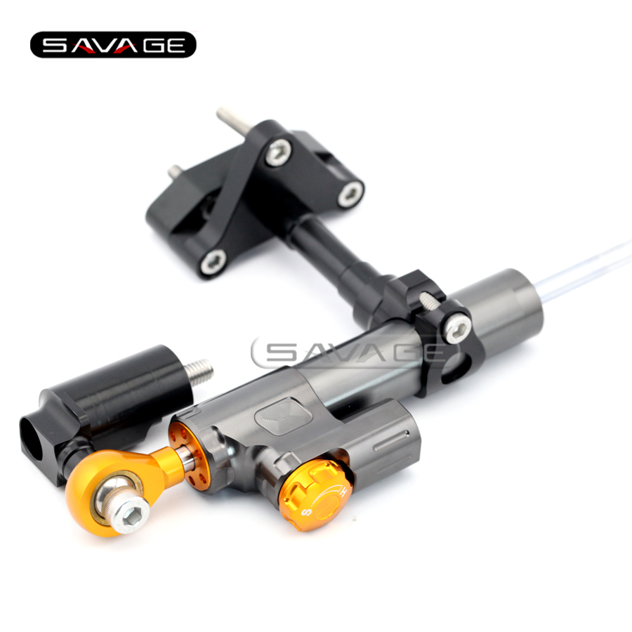 For YAMAHA YZF-R25 YZF-R3 2014 2015 2016 2017 Motorcycle Steering Damper Stabilizer Adjustable Linear with Mount Bracket Kit цена и фото