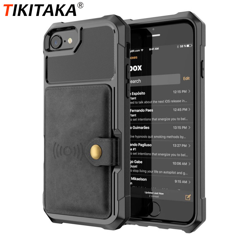 Tikitaka PU Leather Wallet Case For IphoneX XR XS Max 8 Plus Business Flip Cover Buckle