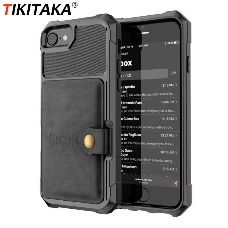 Tikitaka PU Leather Wallet Case For iPhone11Pro Max 11 X XR XS Max 11Pro 8 Plus Business Flip Cover Buckle For iPhone7 7Plus 6 6s Plus X10 Funda