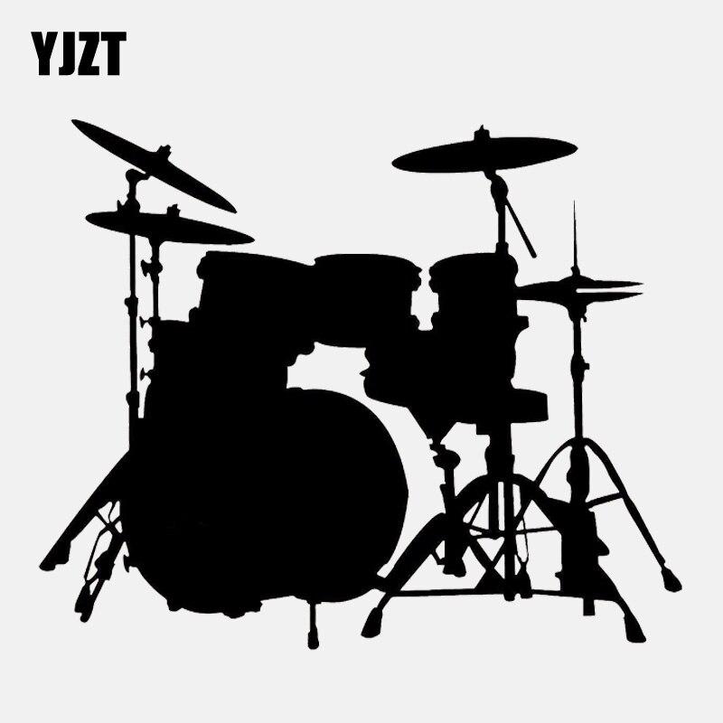 YJZT 15CM*12.4CM Drum Set Rock Band Music Decor Vinyl Black/Silver  Car Sticker C22-0772