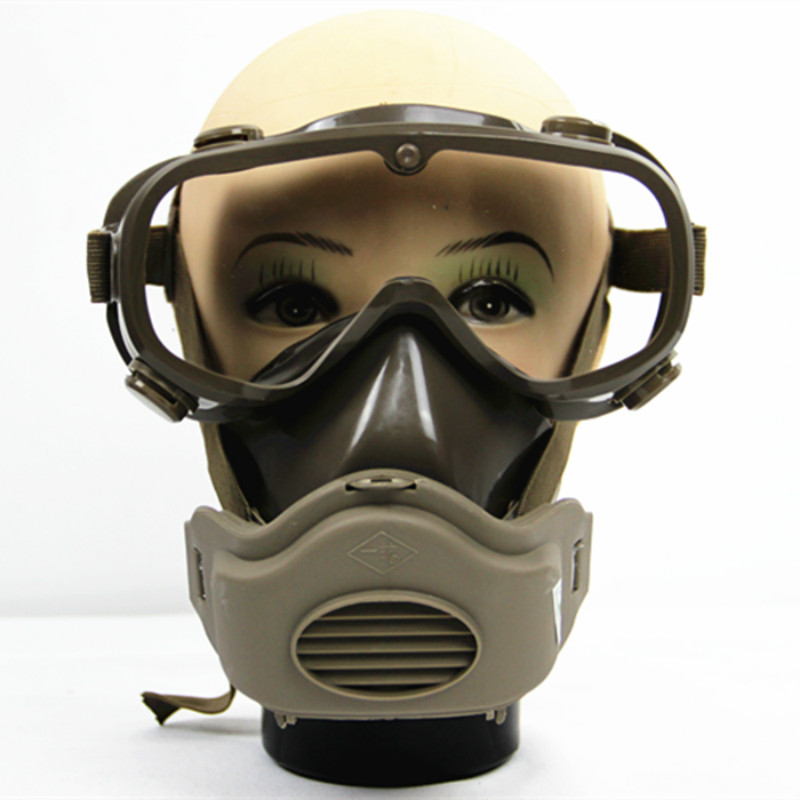 Silicone Half Face Respirator Gas Mask & Goggles Comprehensive Cover Paint Chemical Pesticide Mask Dustproof Escape