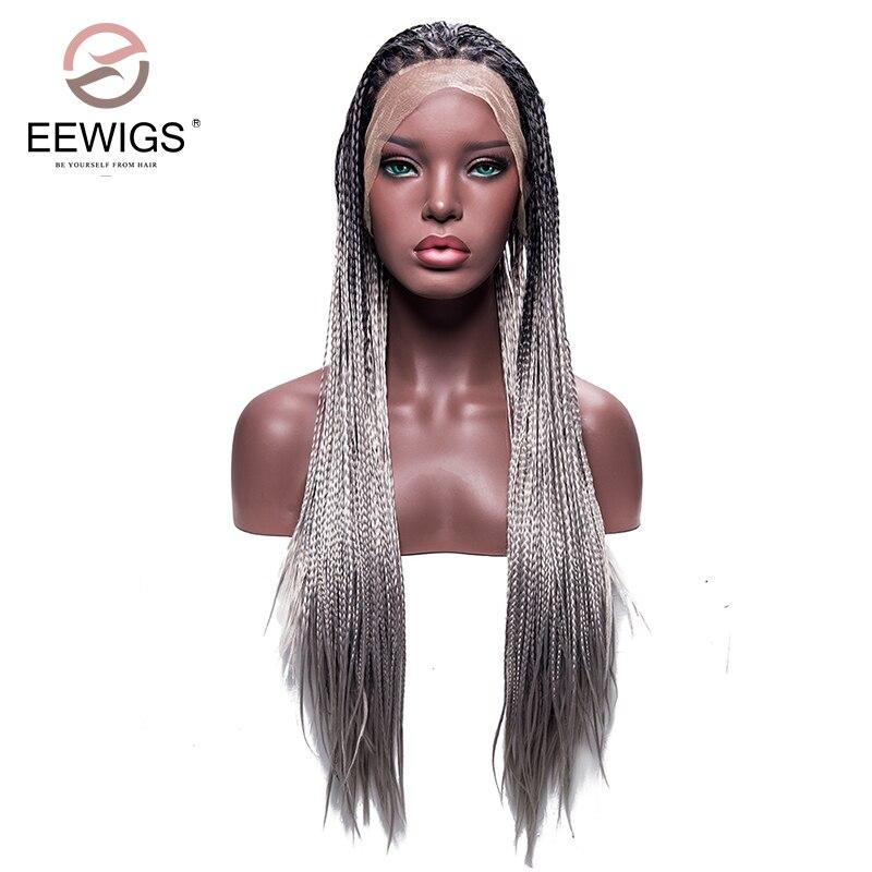 Серебристо-серый Ombre плетеный ящик косы парик Длинные Синтетические волосы на кружеве Искусственные парики для женский, черный 180% 26 дюймов ...