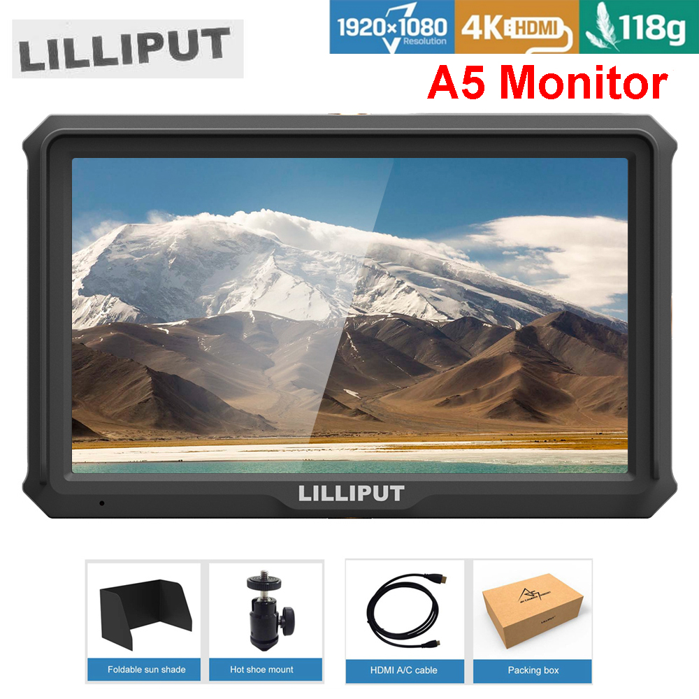 Lilliput A5 5 Inch only 118g FHD 1920x1080 4K HDMI On Camera Field Monitor Broadcast Monitor for Canon Nikon Sony Zhiyun Gimbal цена