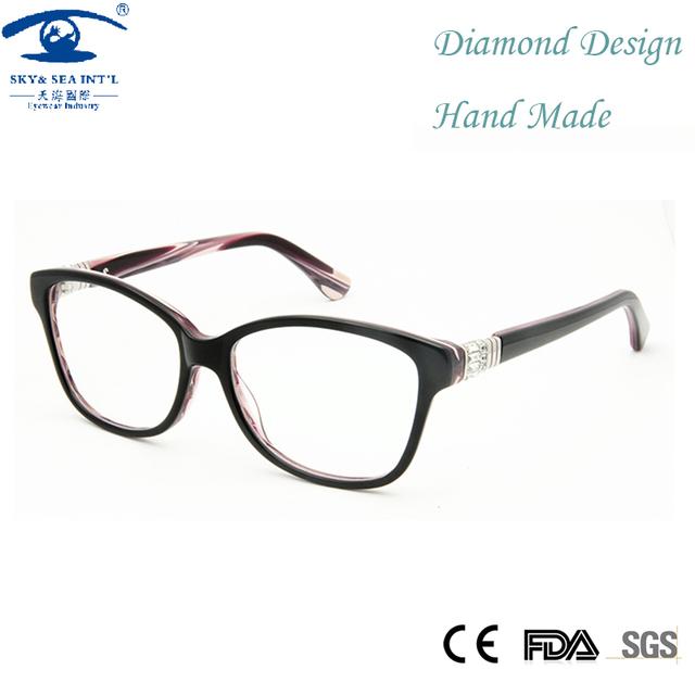 Alta Qualidade Artesanal Das Mulheres Frame Ótico Armações de Óculos de Lente Clara Óculos Rx Miopia Óculos de Diamante das Mulheres