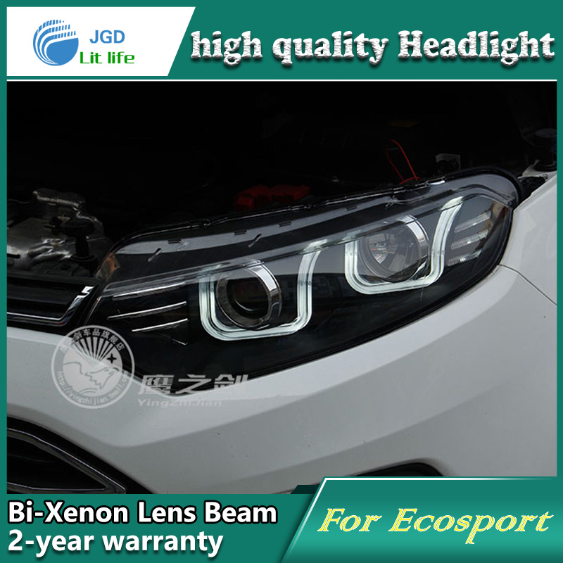 high quality Car Styling for Ford Ecosport 2013 Headlights LED Headlight DRL Lens Double Beam HID Xenon Car Accessories hireno headlamp for 2013 2015 ford kuga escape se headlight headlight assembly led drl angel lens double beam hid xenon 2pcs