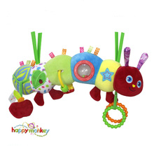 Cute baby caterpillar toys rattles for newborns educational mobile toy on the bed for babies brinquedos juguetes