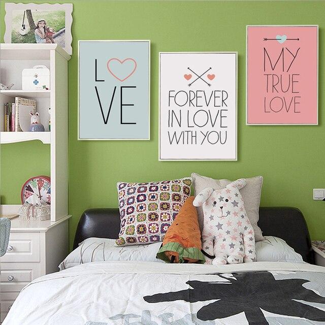 Fesselnd Süße Valentinstag Leinwand Malerei Love Quotes Kunstdruck Poster Bild  Romantische Wandgemälde Home Schlafzimmer Dekor