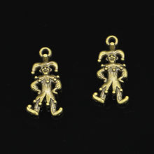 12 sztuk clown joker Charms Antique Bronze Plated stopu cynku Charms zawieszki metalowe komponenty do biżuterii Fit DIY 25*12mm(China)