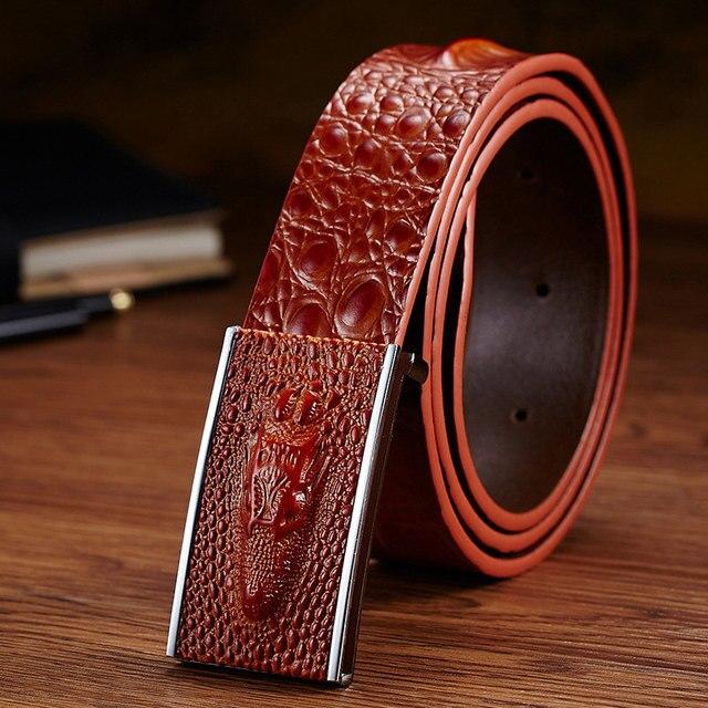 New Fashion Business Male Belts Luxury Crocodile Striped Genuine Leather Belt Men Designer Belts Men High Quality