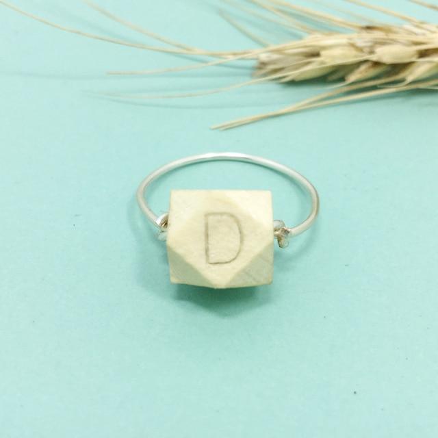 PINJEAS wood Bead Ring,Custom Name Words Letters Handmade Wire ...