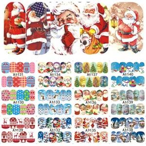 Image 2 - 12PCS Botas Sinos Cervos Do Boneco de Neve Árvore de Natal Deslizante de Transferência da Água Nail Art Adesivo Decalque Manicure Ferramenta Dicas Wraps JIA1129 1176
