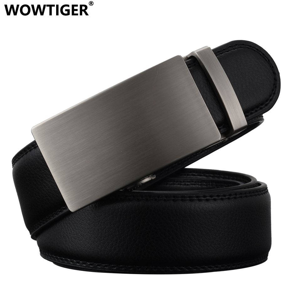 WOWTIGER New Fashion Designer Belter for menn Sliding Buckle Ratchet Luksus Leather Men Belte Automatisk ceinture homme