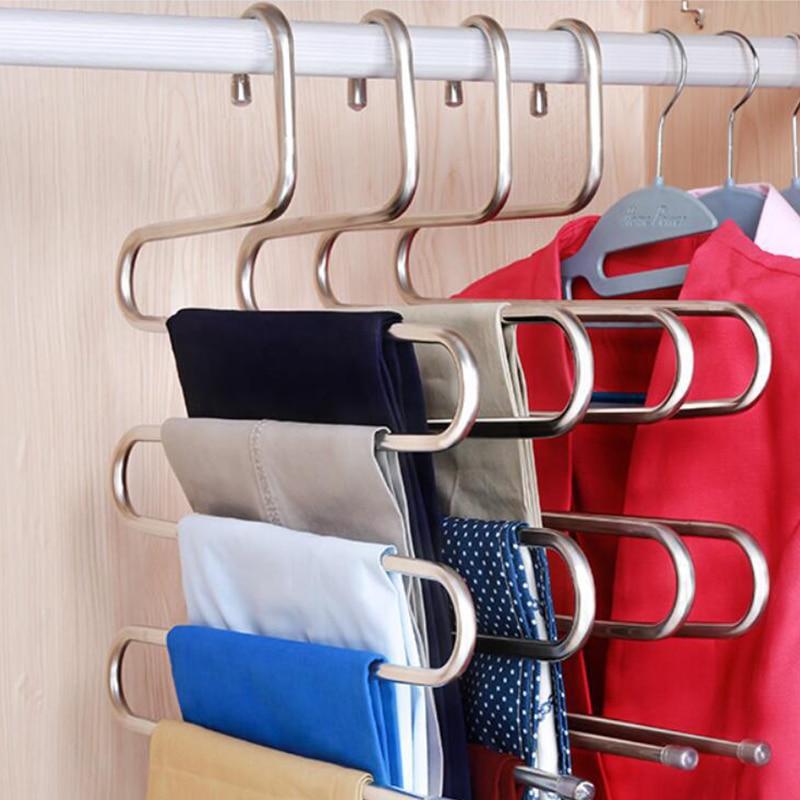 Стойка для брюк из нержавеющей стали s-образный держатель Вешалка для пальто инструменты шарф для одежды пояс для белья полка удобная Многофункциональная