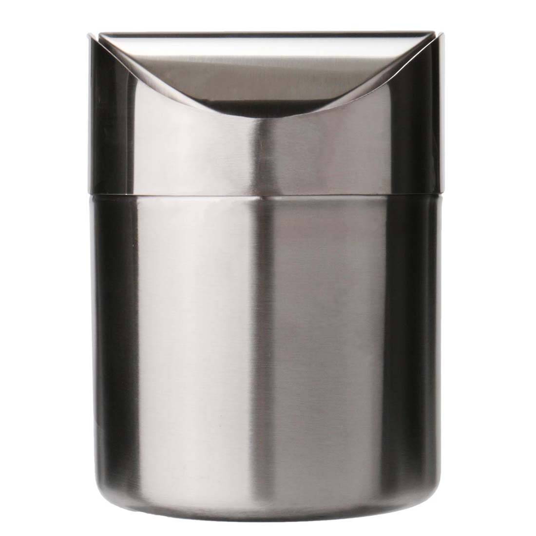 Stainless Steel 1.5L Mini Worktop Kitchen Waste Dust Bin Rubbish With Swing Lid Silver ...